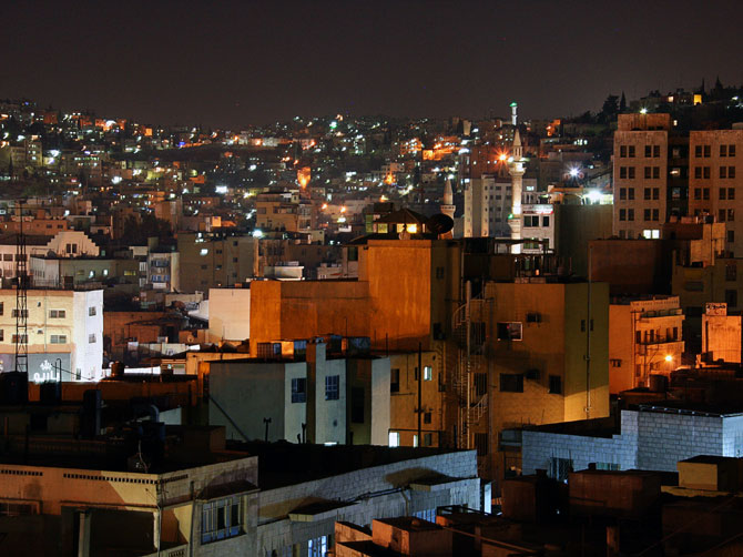 Центр Аммана ночью