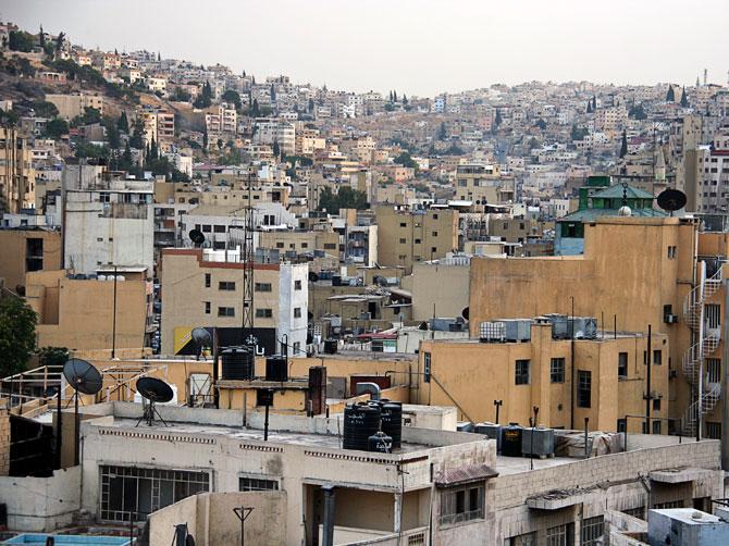Вид на один из холмов Аммана, Иордания