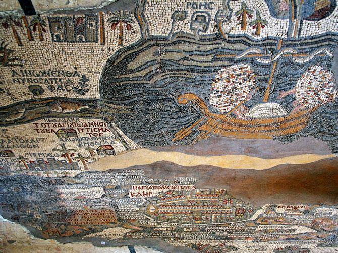 Карта святой земли в Мадабе, Иордания