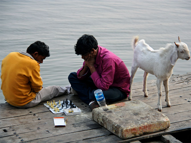 Шахматисты в Варанаси, Индия