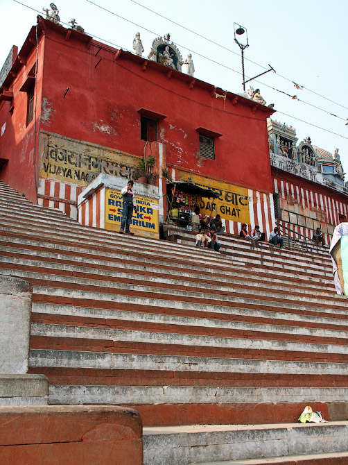 Ступени и храм Кедар гата, Варанаси, Индия