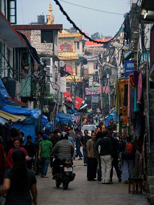 Тесная улочка Маклеод Ганжа, Дарамсала, Индия