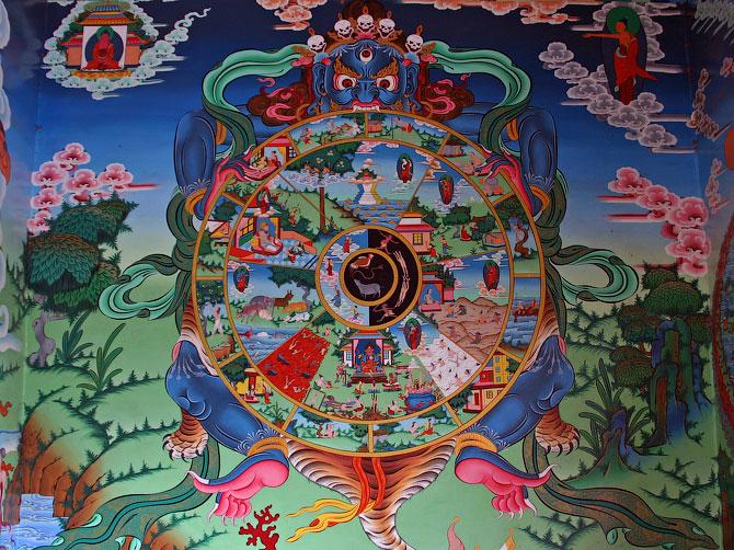 Тибетских рисунок-танка в буддистском храме, Ревалсар, Индия