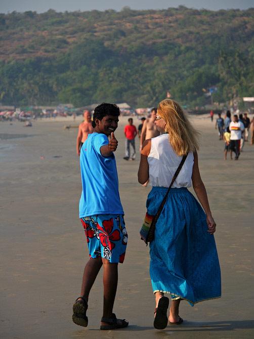 Ира и Манжу на арамбольском пляже